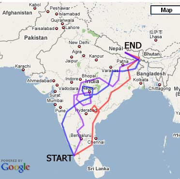 India Map and our routes in the rickshaw run in jpeg